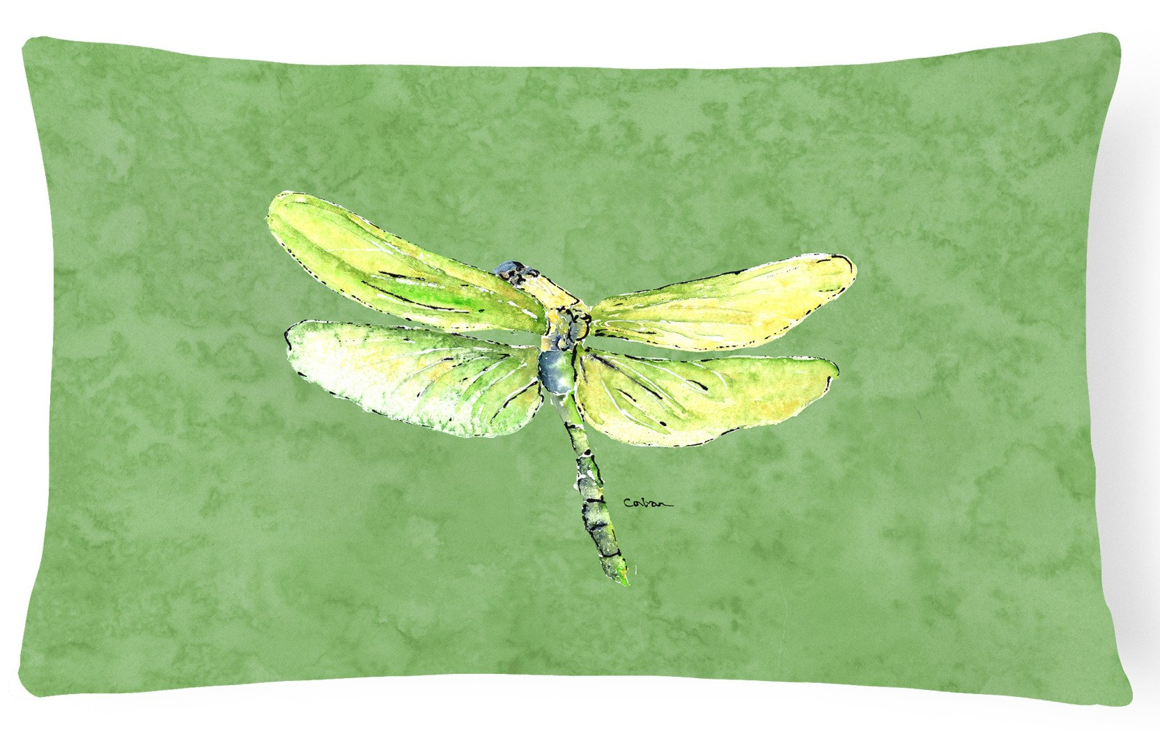 Dragonfly on Avacado   Canvas Fabric Decorative Pillow by Caroline's Treasures