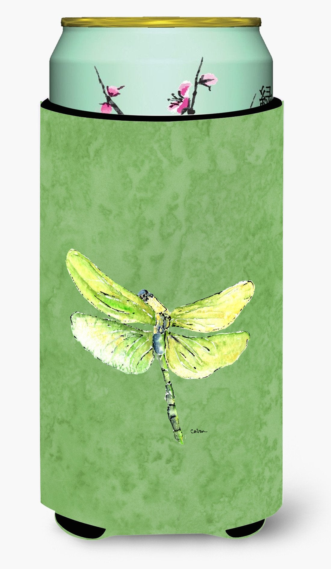 Dragonfly on Avacado  Tall Boy Beverage Insulator Beverage Insulator Hugger by Caroline's Treasures