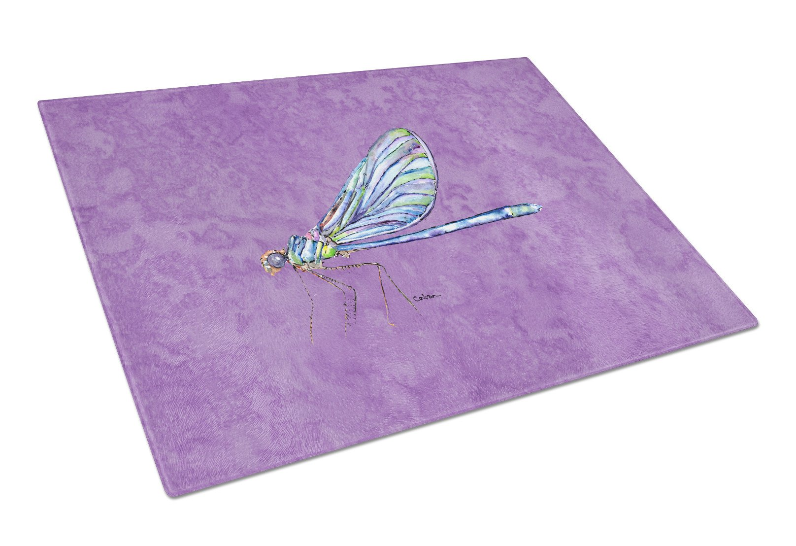 Dragonfly on Purple Glass Cutting Board Large by Caroline's Treasures