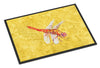 Dragonfly on Yellow Indoor or Outdoor Mat 18x27 Doormat - the-store.com