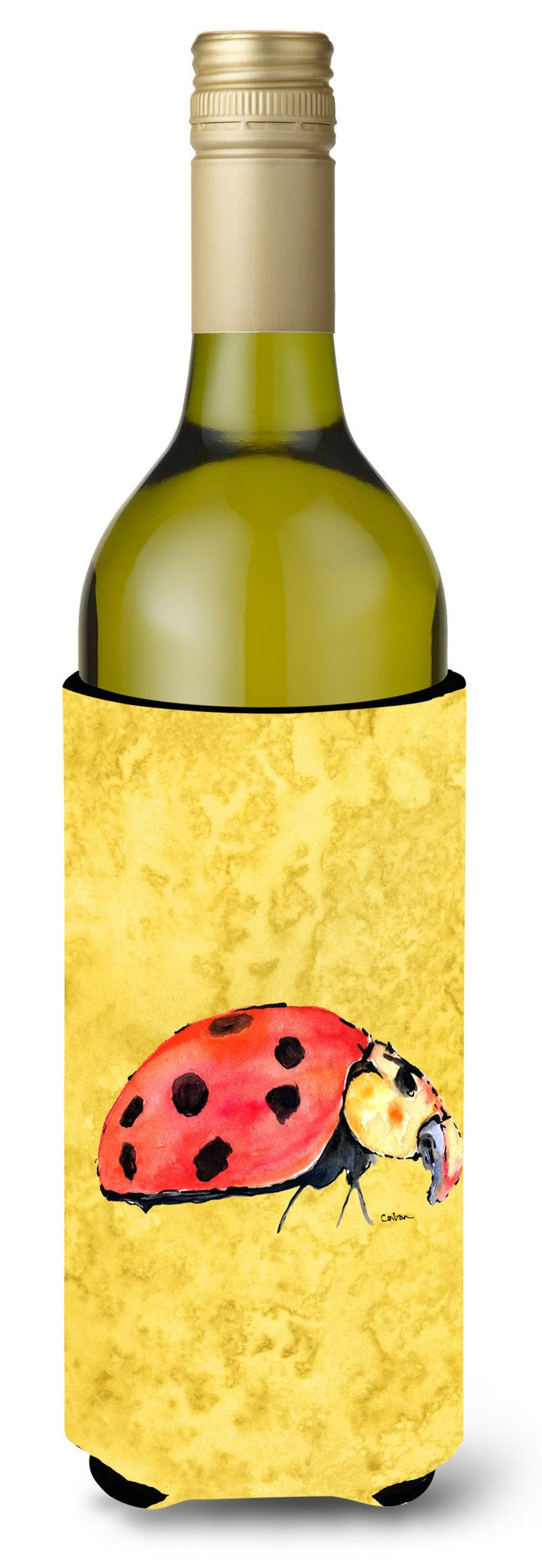 Lady Bug on Yellow Wine Bottle Beverage Insulator Beverage Insulator Hugger by Caroline's Treasures