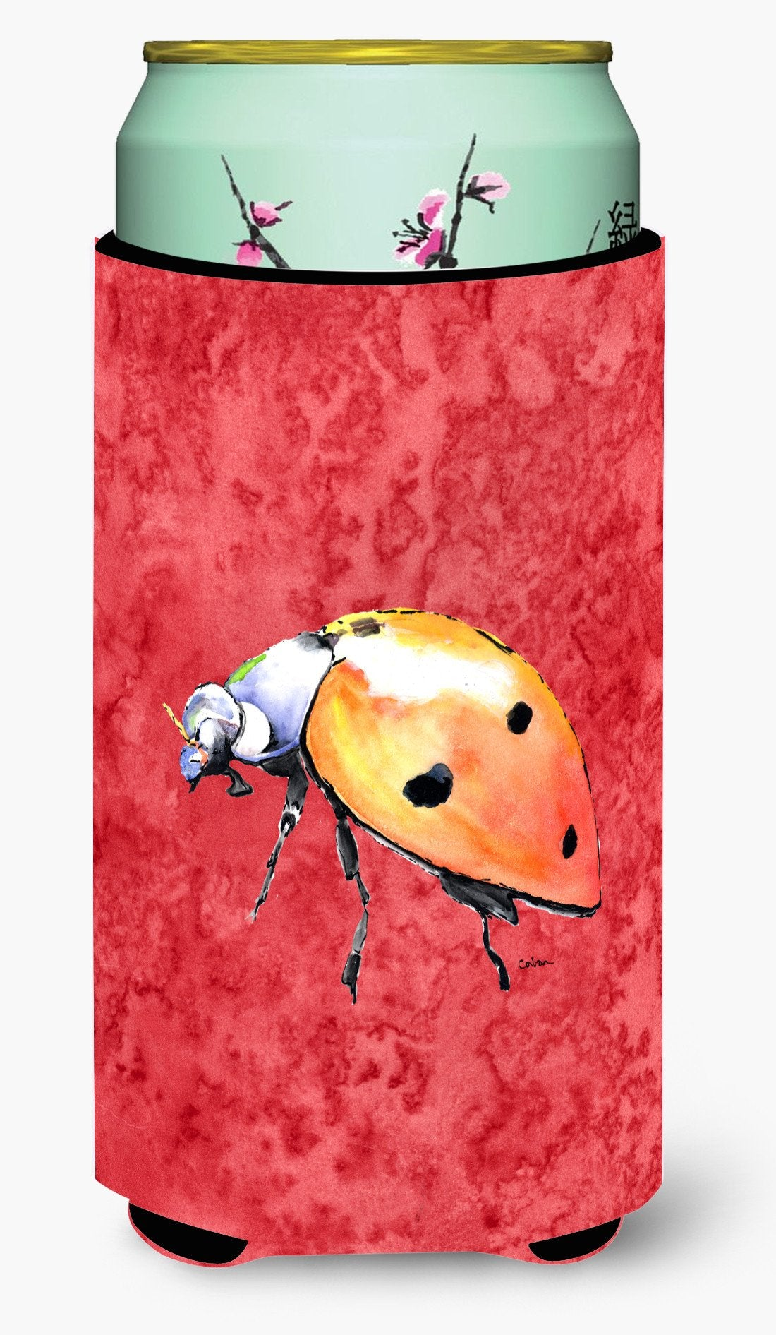 Lady Bug on Red  Tall Boy Beverage Insulator Beverage Insulator Hugger by Caroline's Treasures