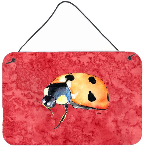 Lady Bug on Red Aluminium Metal Wall or Door Hanging Prints by Caroline's Treasures
