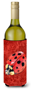 Lady Bug on Deep Red Wine Bottle Beverage Insulator Beverage Insulator Hugger by Caroline's Treasures
