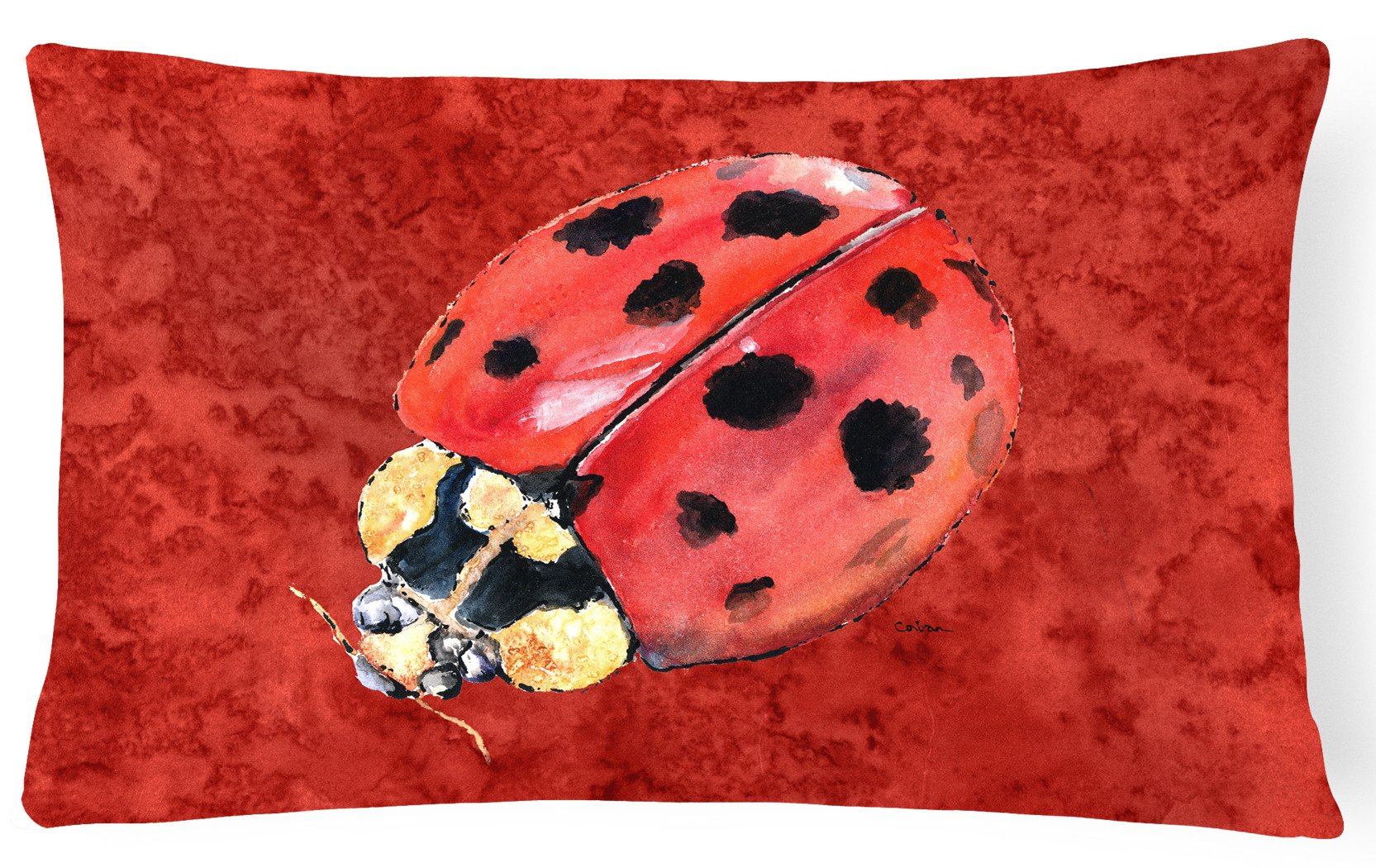 Lady Bug on Deep Red   Canvas Fabric Decorative Pillow by Caroline's Treasures