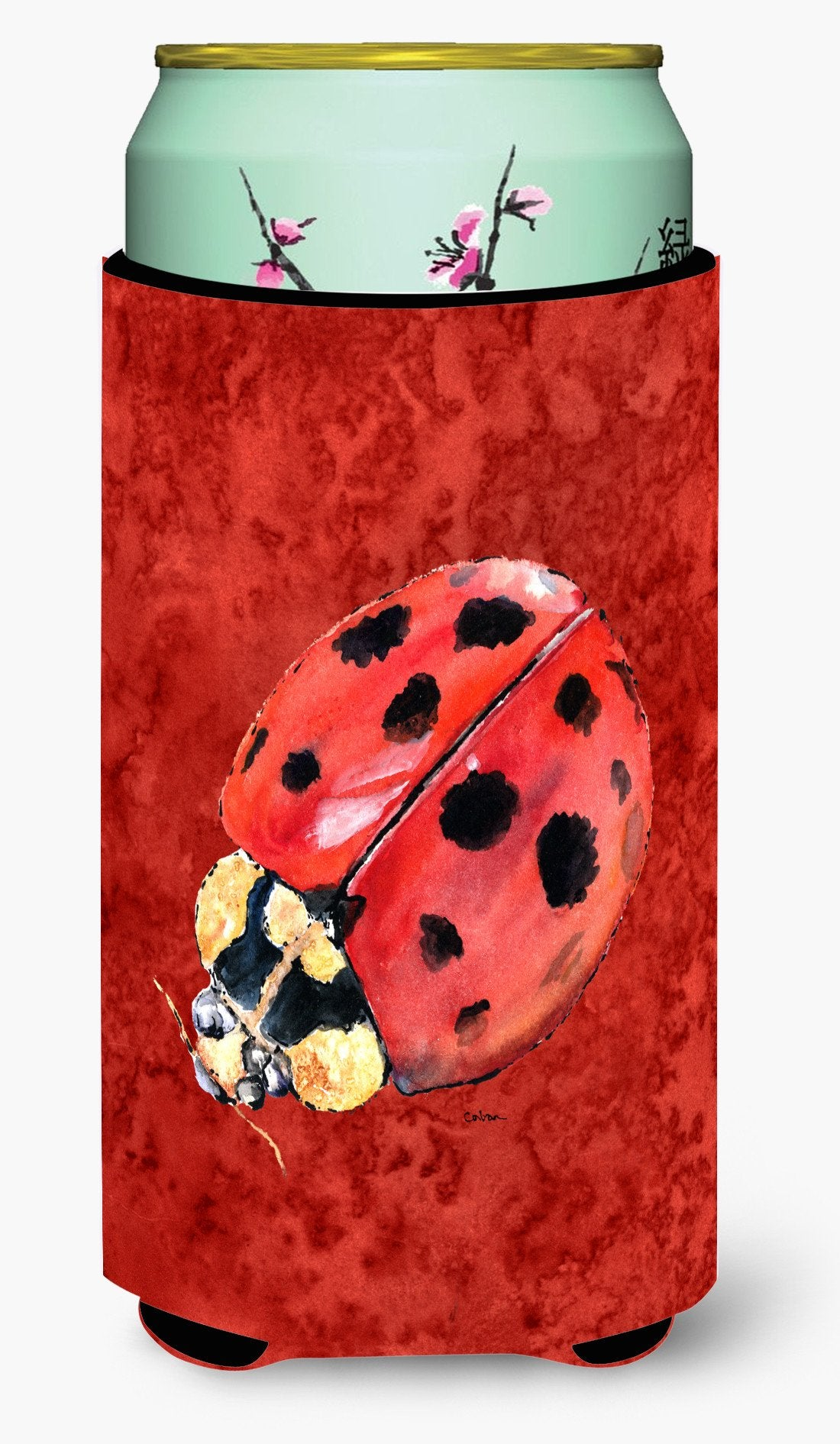 Lady Bug on Deep Red  Tall Boy Beverage Insulator Beverage Insulator Hugger by Caroline's Treasures