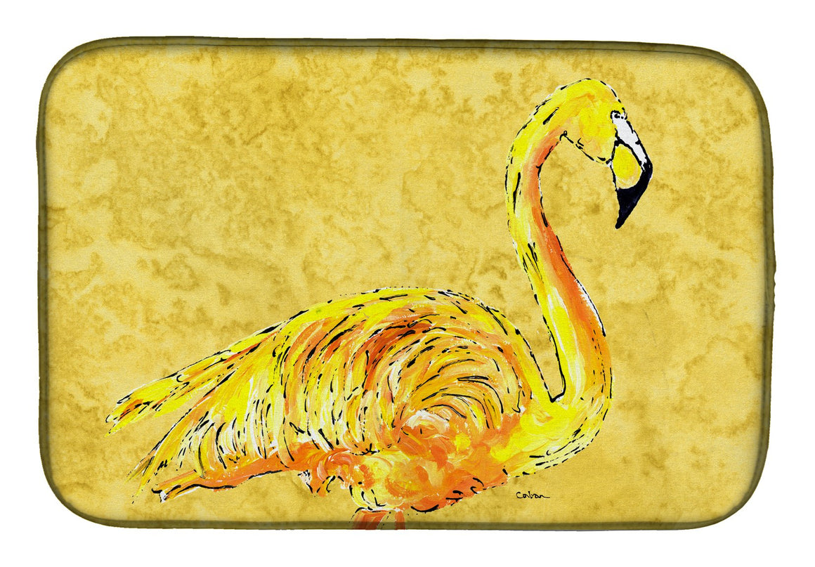Buy this Flamingo on Yellow Dish Drying Mat 8872DDM