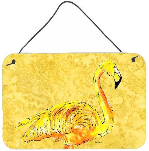 Buy this Flamingo on Yellow Aluminium Metal Wall or Door Hanging Prints