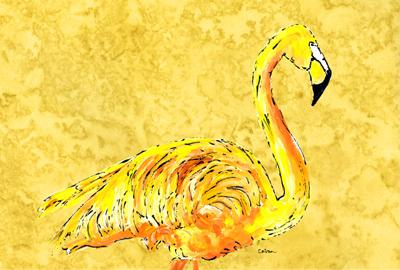 Buy this Flamingo on Yellow Fabric Placemat