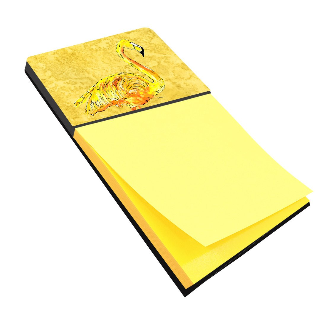 Flamingo on Yellow Refiillable Sticky Note Holder or Postit Note Dispenser 8872SN by Caroline's Treasures