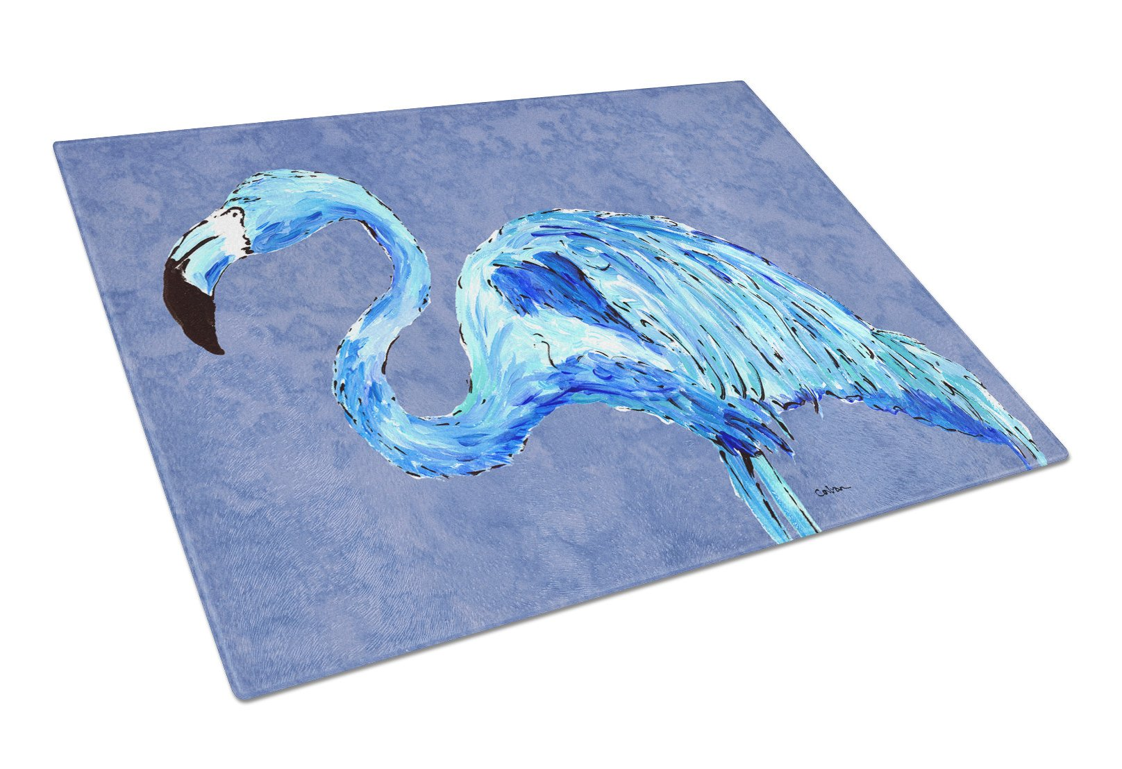 Buy this Flamingo On Slate Blue Glass Cutting Board Large