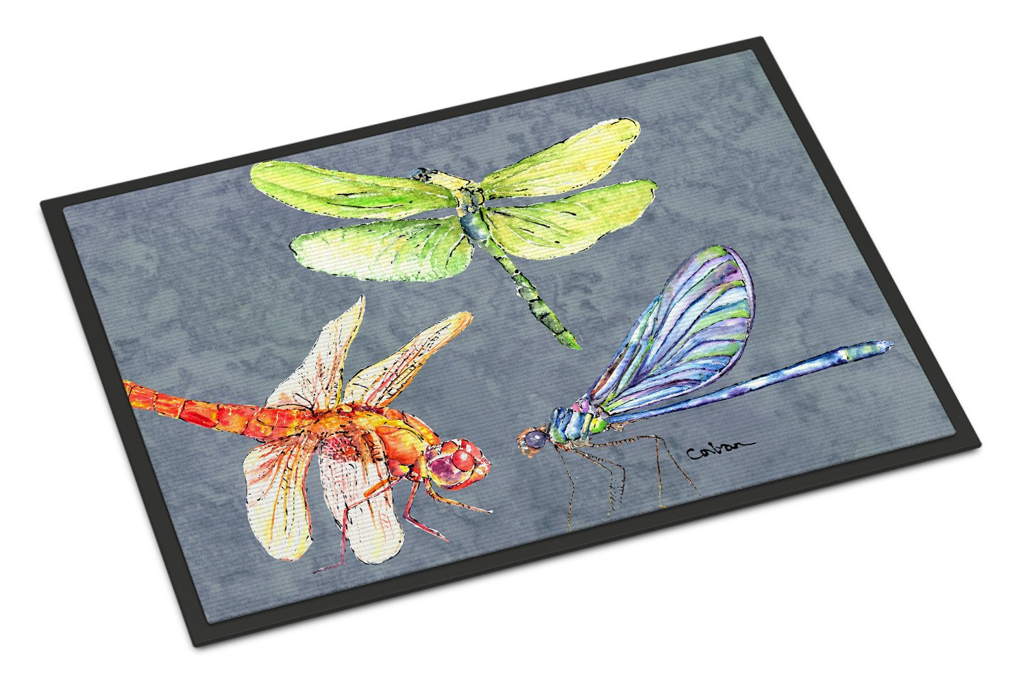 Dragonfly Times Three Indoor or Outdoor Mat 18x27 Doormat - the-store.com