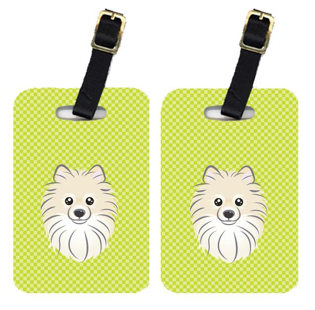 Pair of Checkerboard Lime Green Pomeranian Luggage Tags BB1269BT by Caroline's Treasures