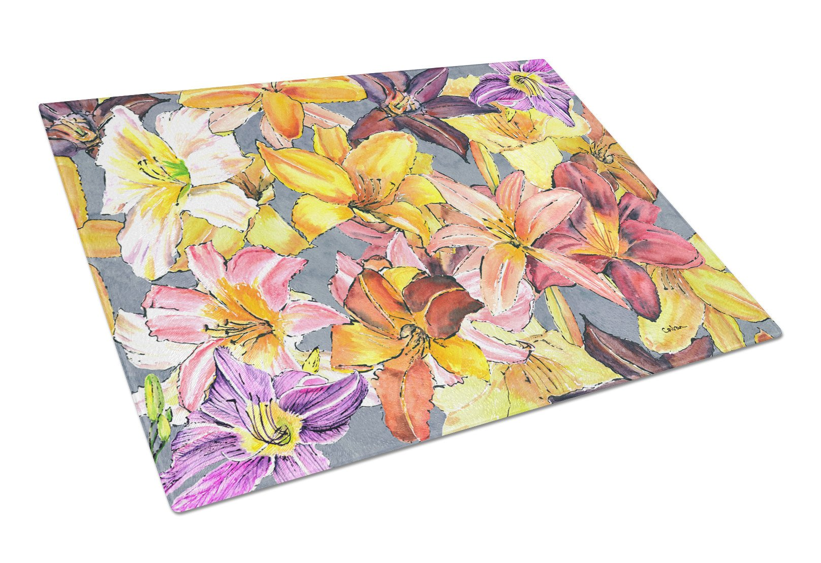 Day Lillies Glass Cutting Board Large by Caroline's Treasures