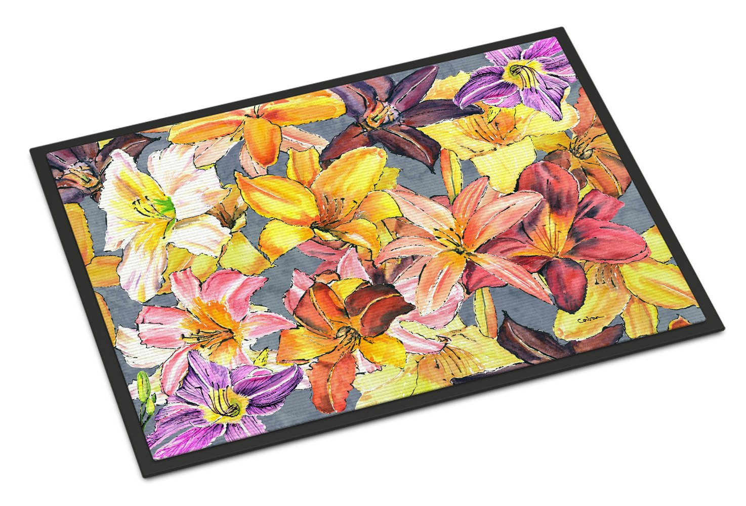 Day Lillies Indoor or Outdoor Mat 18x27 by Caroline's Treasures