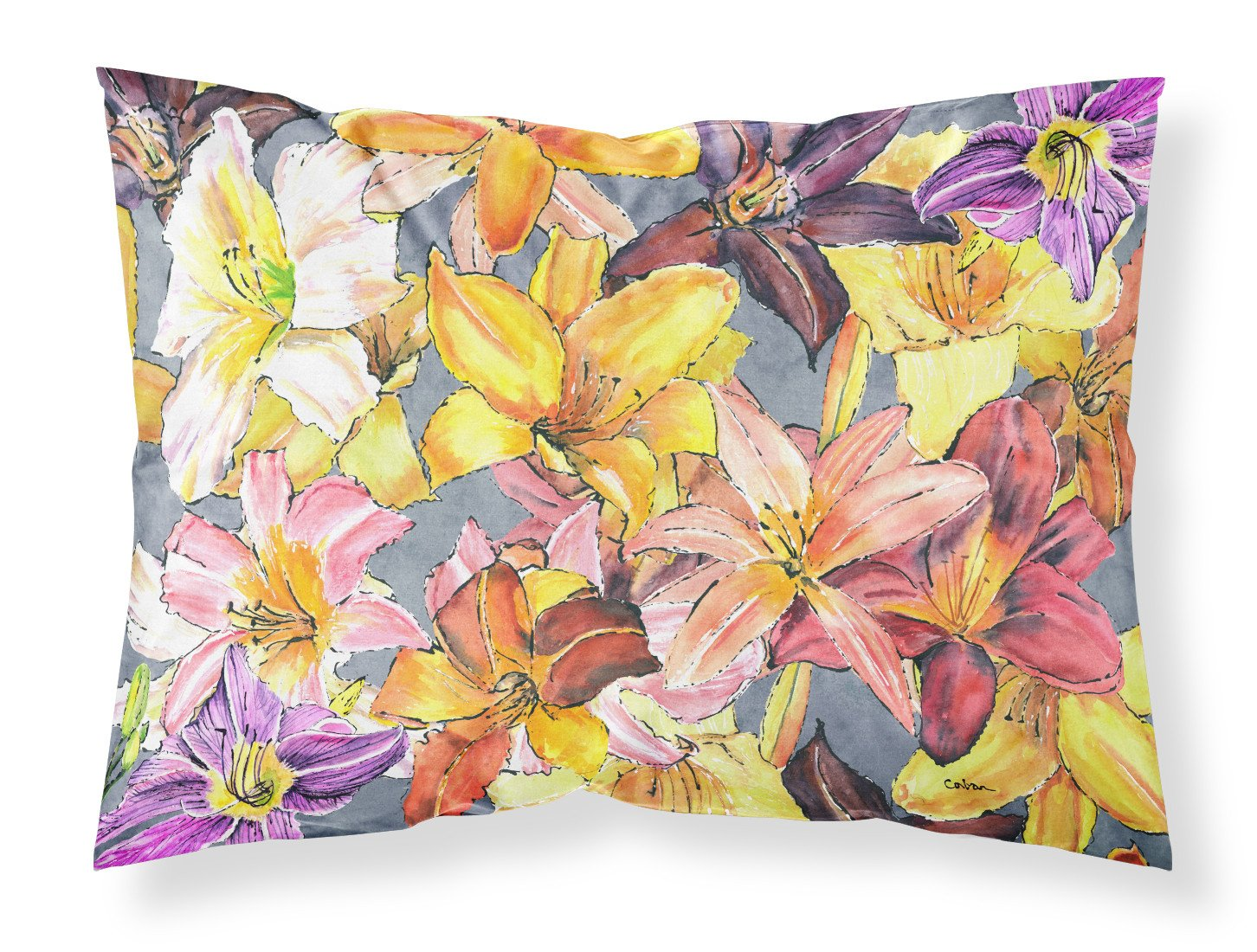 Day Lillies Moisture wicking Fabric standard pillowcase by Caroline's Treasures