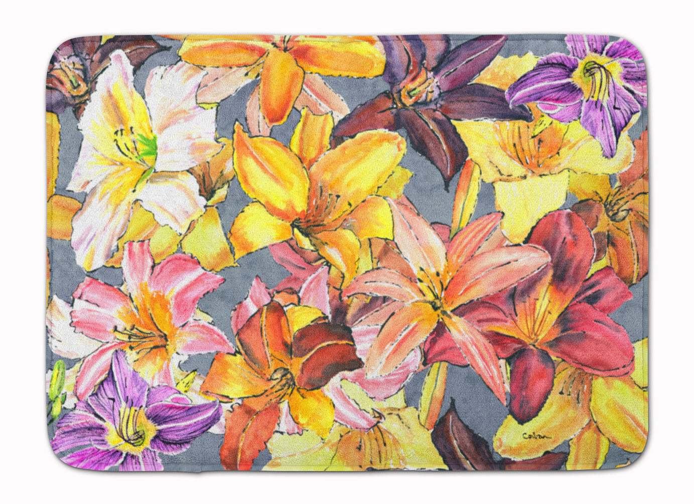 Day Lillies Machine Washable Memory Foam Mat 8892RUG by Caroline's Treasures