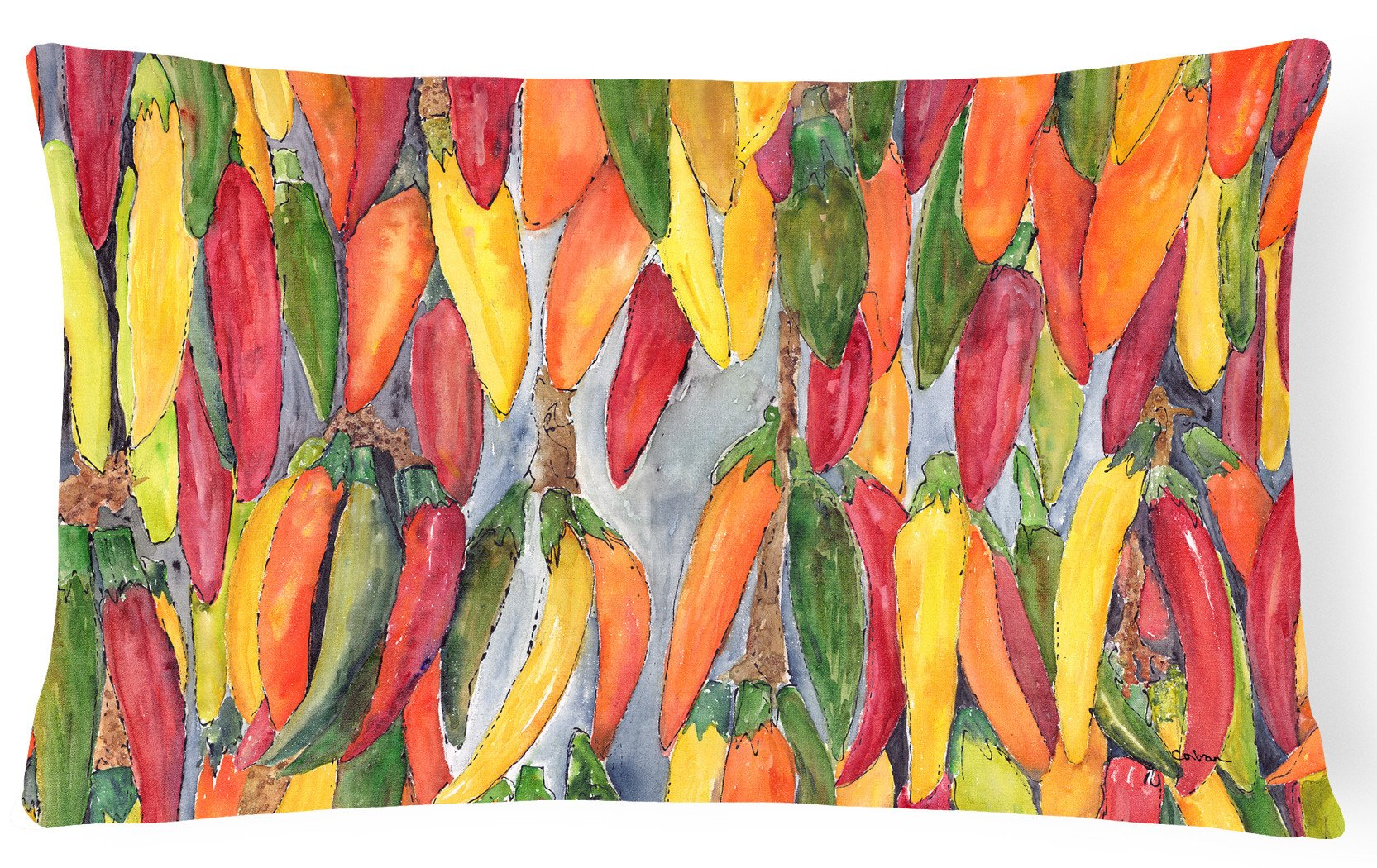 Hot Peppers   Canvas Fabric Decorative Pillow by Caroline's Treasures