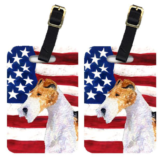 Buy this Pair of USA American Flag with Fox Terrier Luggage Tags SS4057BT