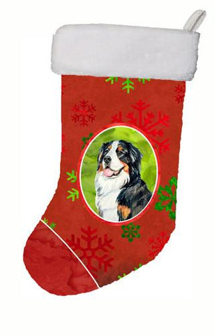 Buy this Bernese Mountain Dog Red and Green Snowflakes Holiday Christmas Stocking