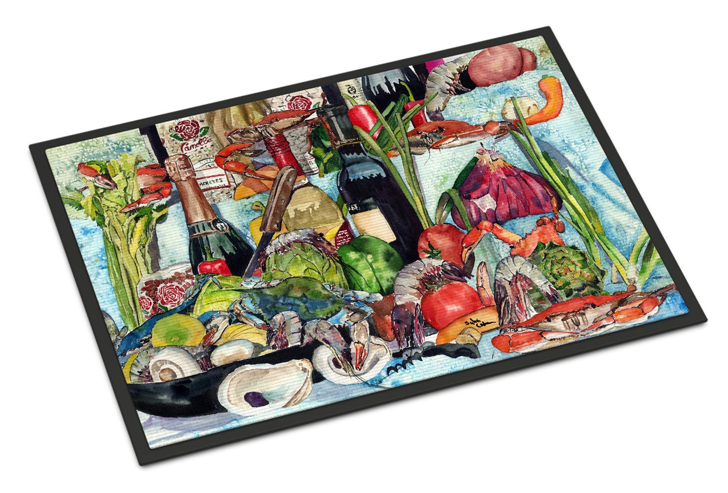 Wine Crab Shrimp and Oysters Indoor or Outdoor Mat 24x36 by Caroline's Treasures
