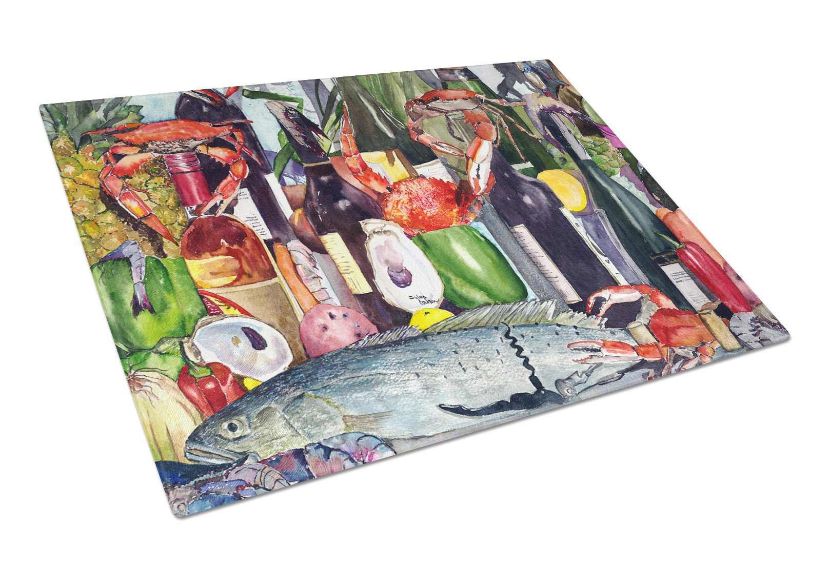 Wine and Speckled Trout Glass Cutting Board Large by Caroline's Treasures