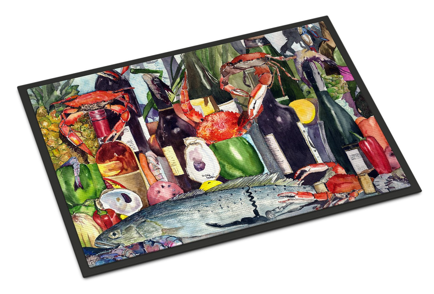 Wine and Speckled Trout Indoor or Outdoor Mat 18x27 by Caroline's Treasures