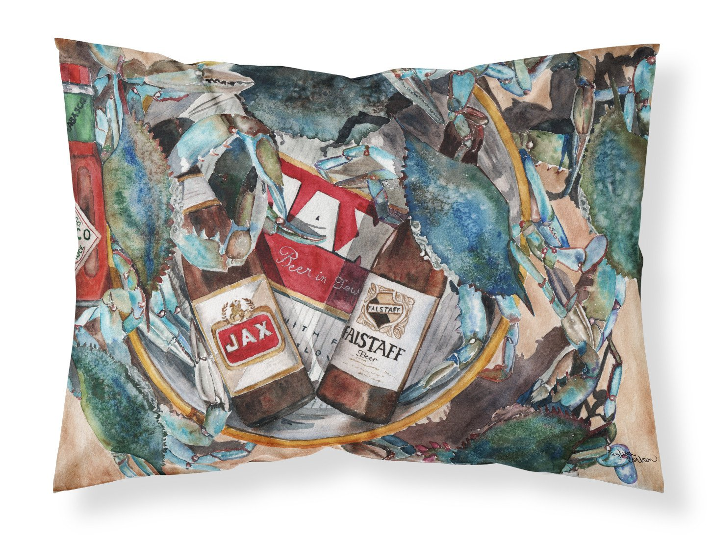 Buy this New Orleans Beers and Crabs Fabric Standard Pillowcase 8919PILLOWCASE