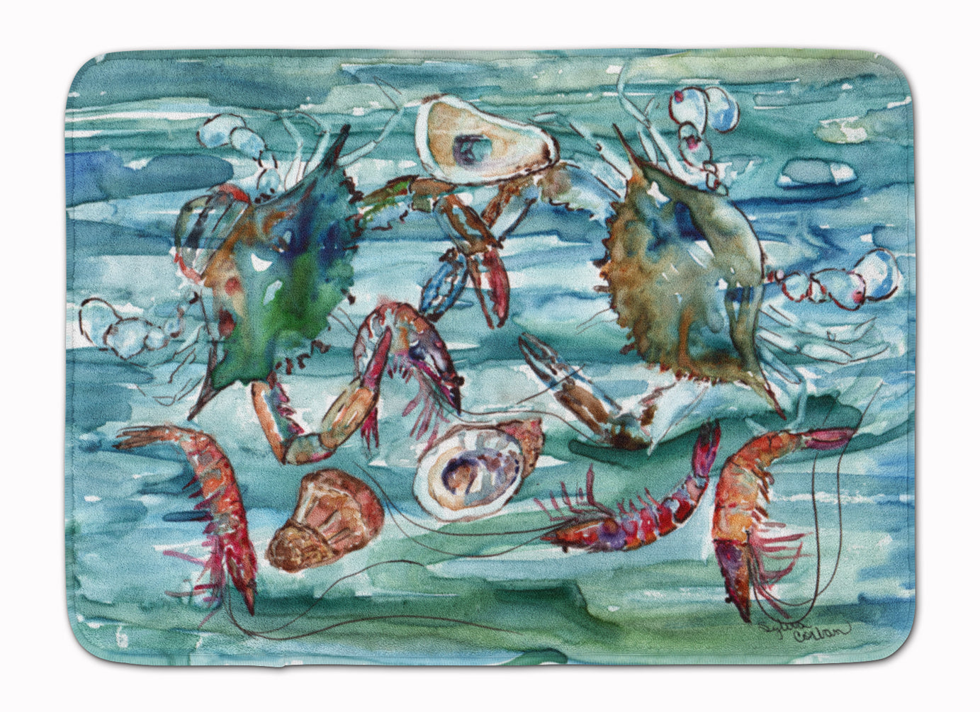 Crabs, Shrimp and Oysters in Water Machine Washable Memory Foam Mat 8944RUG by Caroline's Treasures