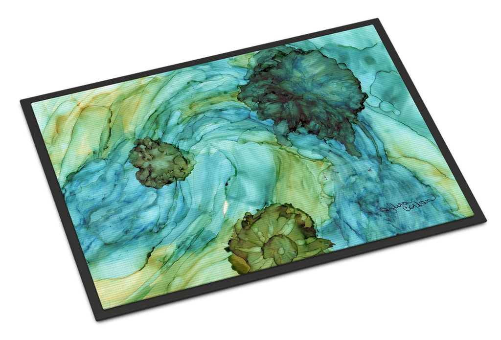 Buy this Abstract in Teal Flowers Indoor or Outdoor Mat 24x36 8952JMAT