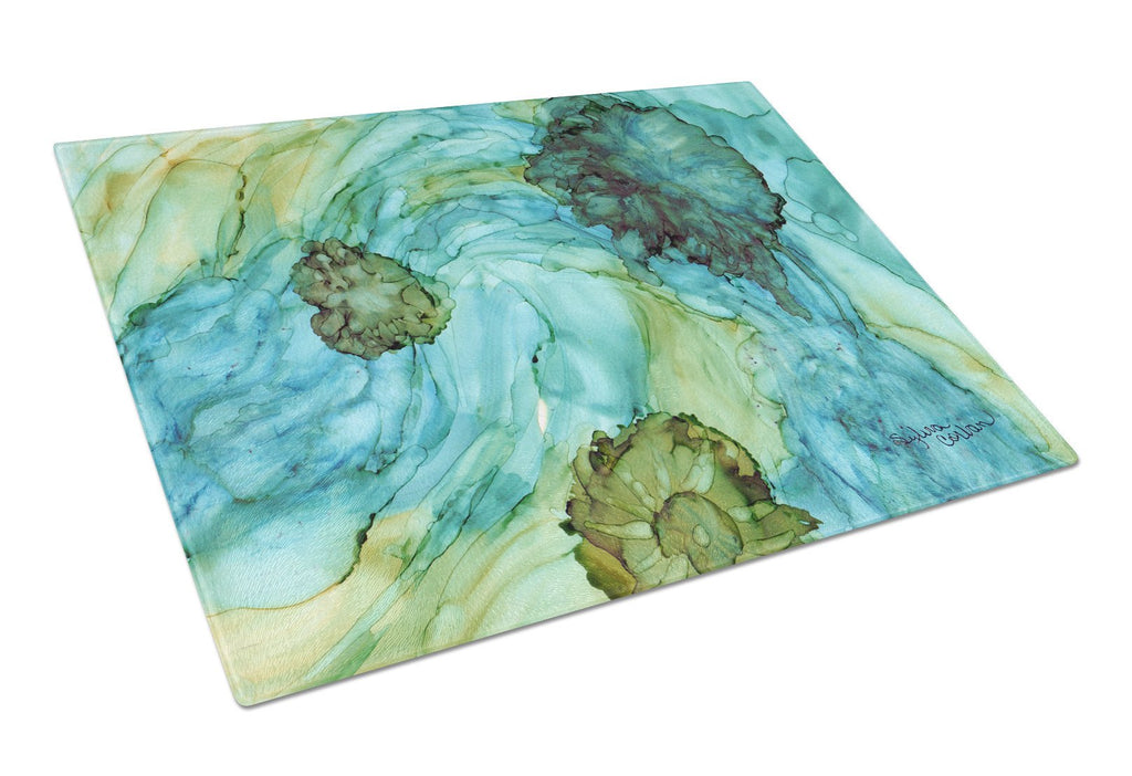 Buy this Abstract in Teal Flowers Glass Cutting Board Large 8952LCB
