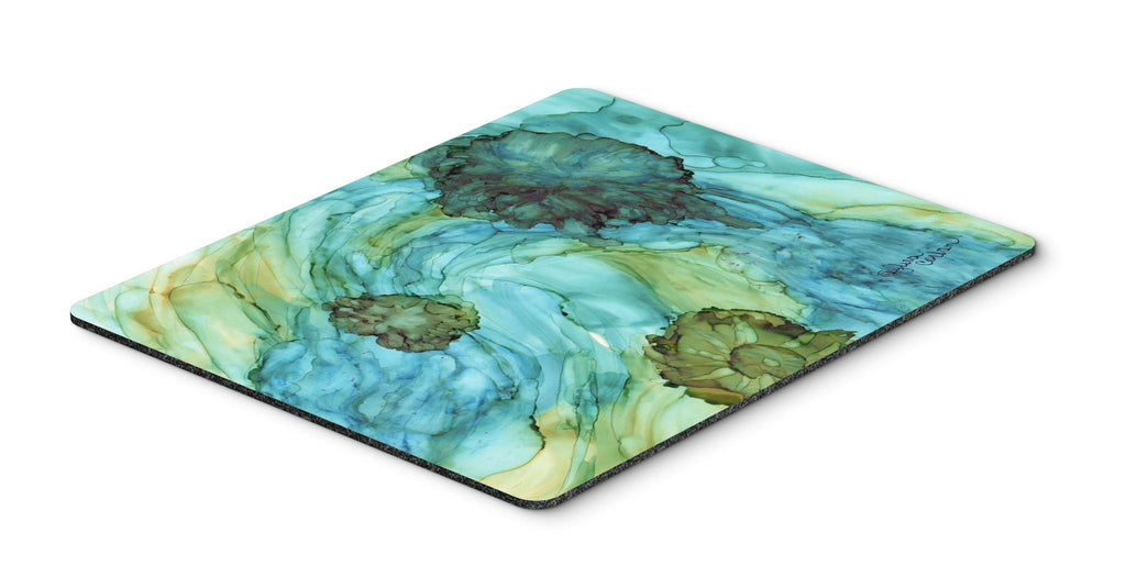 Buy this Abstract in Teal Flowers Mouse Pad, Hot Pad or Trivet 8952MP