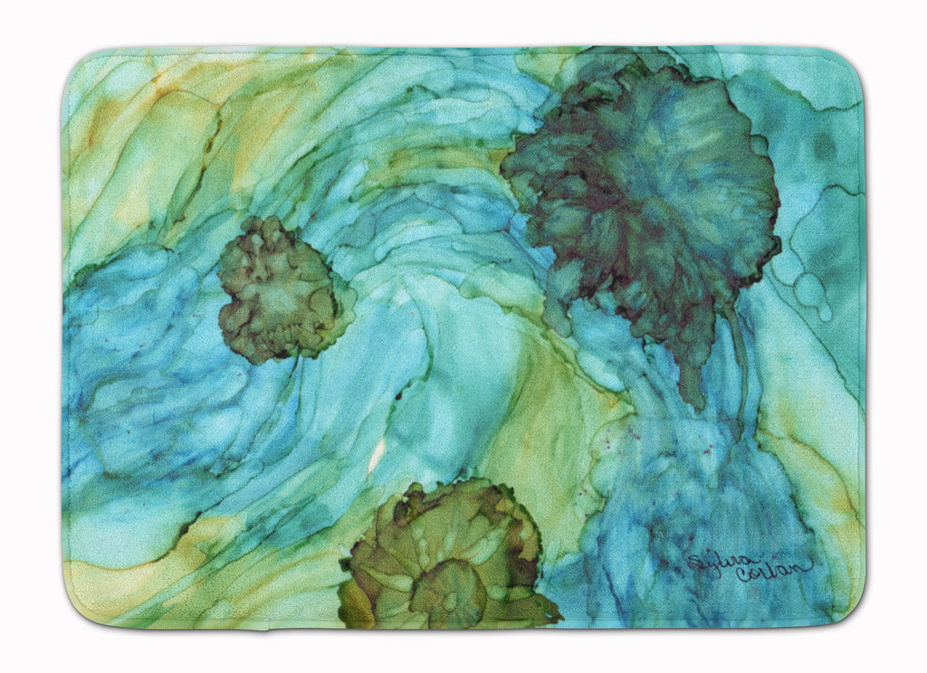 Buy this Abstract in Teal Flowers Machine Washable Memory Foam Mat 8952RUG