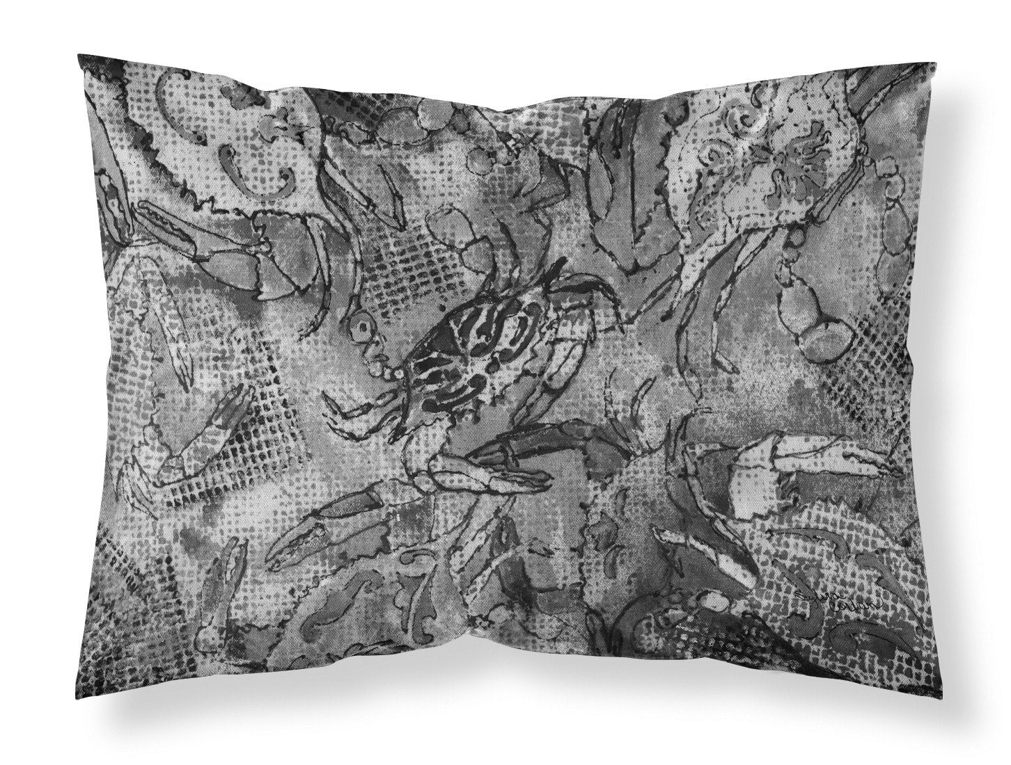 Grey Canvas Abstract Crabs Fabric Standard Pillowcase 8953PILLOWCASE by Caroline's Treasures