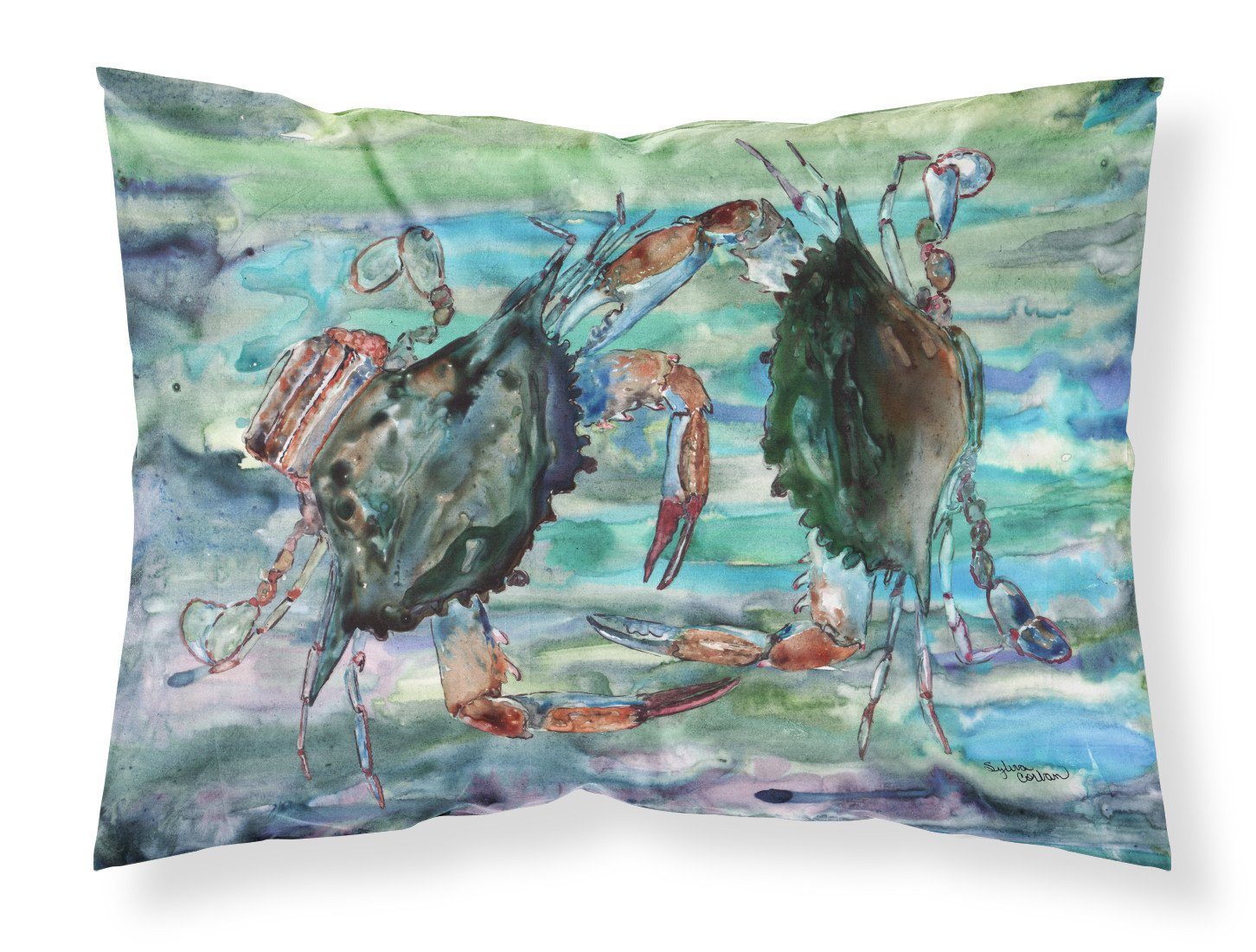 Buy this Watery Teal and Purple Crabs Fabric Standard Pillowcase 8954PILLOWCASE