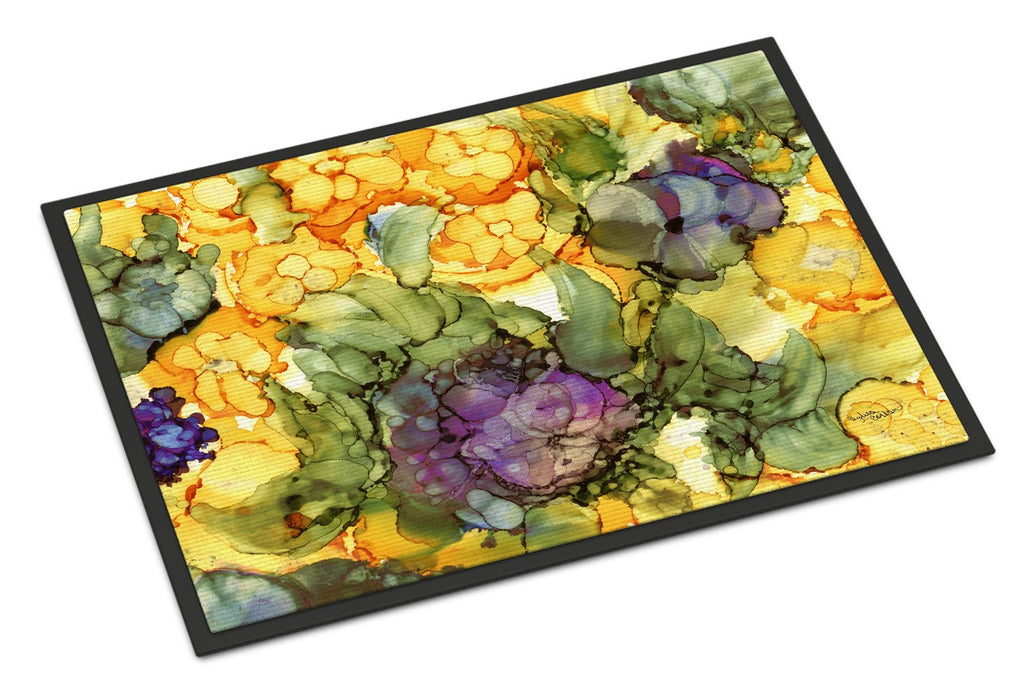 Buy this Abstract Flowers Purple and Yellow Indoor or Outdoor Mat 24x36 8958JMAT