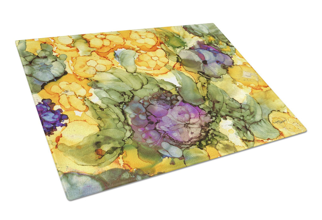 Buy this Abstract Flowers Purple and Yellow Glass Cutting Board Large 8958LCB