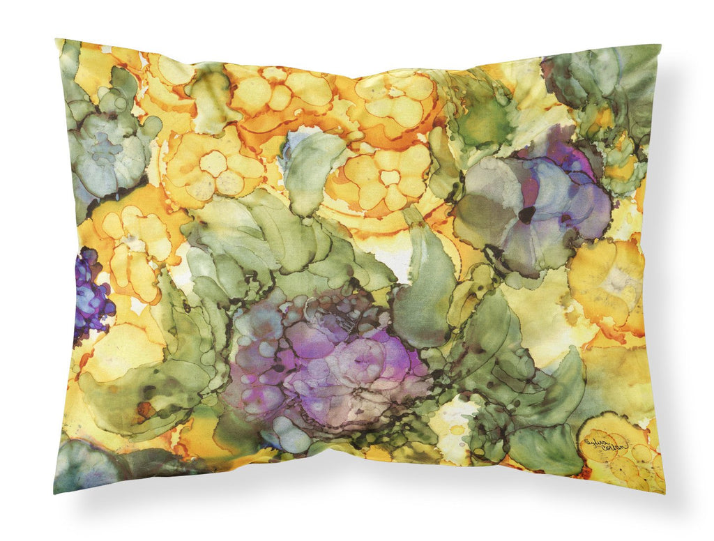 Buy this Abstract Flowers Purple and Yellow Fabric Standard Pillowcase 8958PILLOWCASE