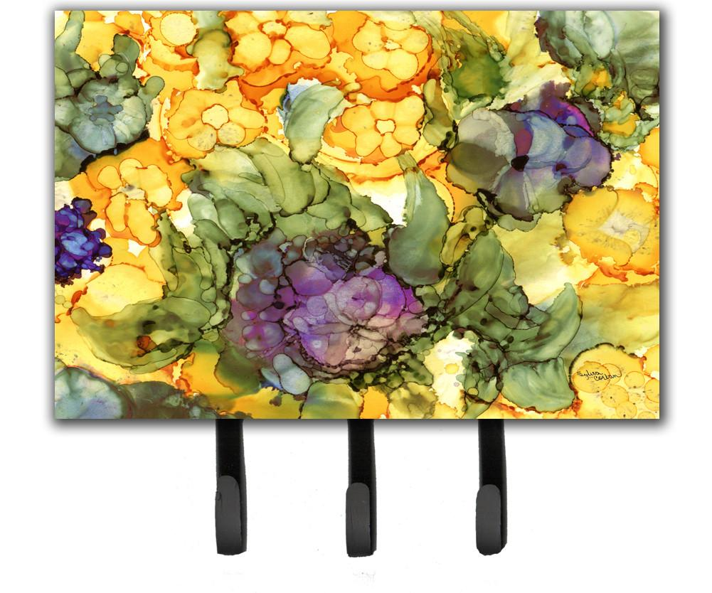 Buy this Abstract Flowers Purple and Yellow Leash or Key Holder 8958TH68