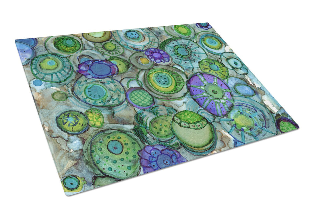 Buy this Abstract in Blues and Greens Glass Cutting Board Large 8962LCB