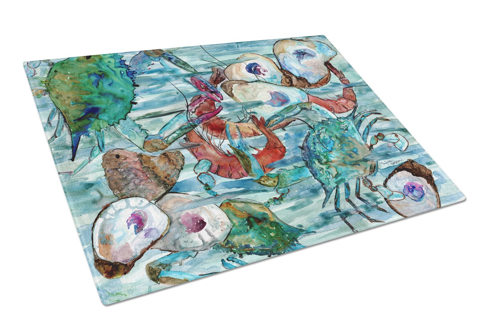Watery Shrimp, Crabs and Oysters Glass Cutting Board Large 8964LCB by Caroline's Treasures