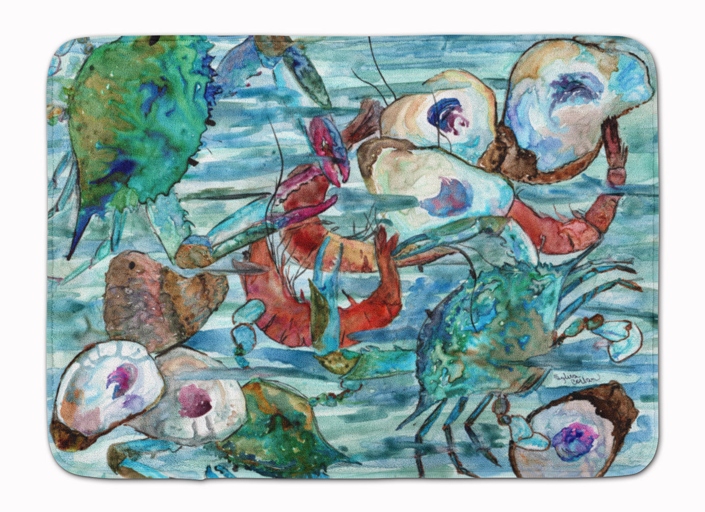 Watery Shrimp, Crabs and Oysters Machine Washable Memory Foam Mat 8964RUG by Caroline's Treasures