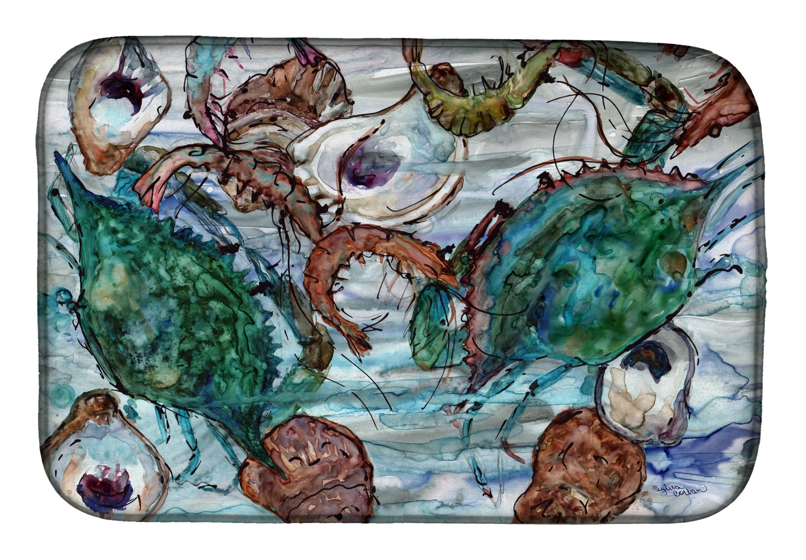 Shrimp, Crabs and Oysters in water Dish Drying Mat 8965DDM by Caroline's Treasures