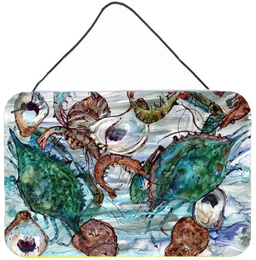 Shrimp, Crabs and Oysters in water Wall or Door Hanging Prints 8965DS812 by Caroline's Treasures