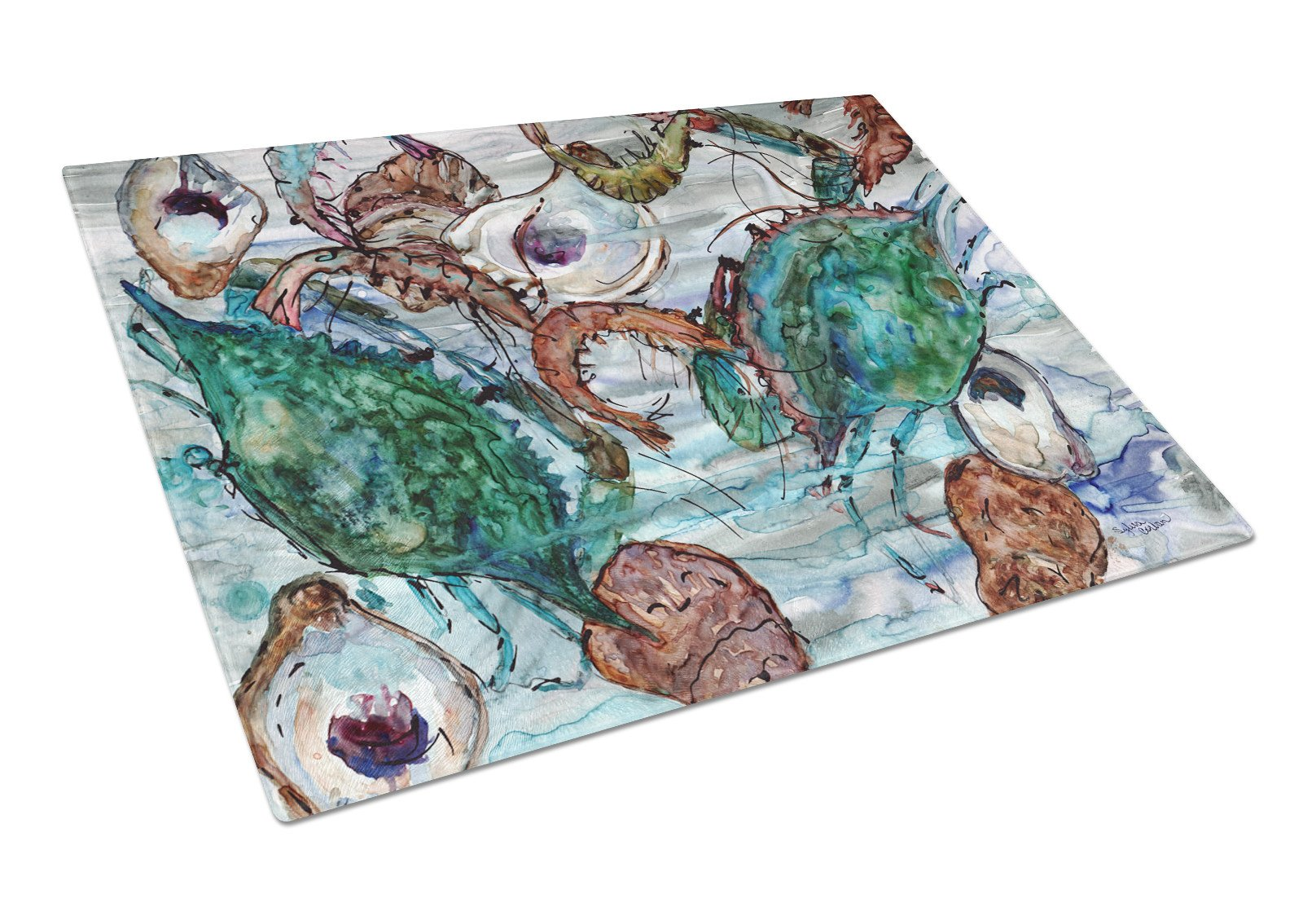 Shrimp, Crabs and Oysters in water Glass Cutting Board Large 8965LCB by Caroline's Treasures