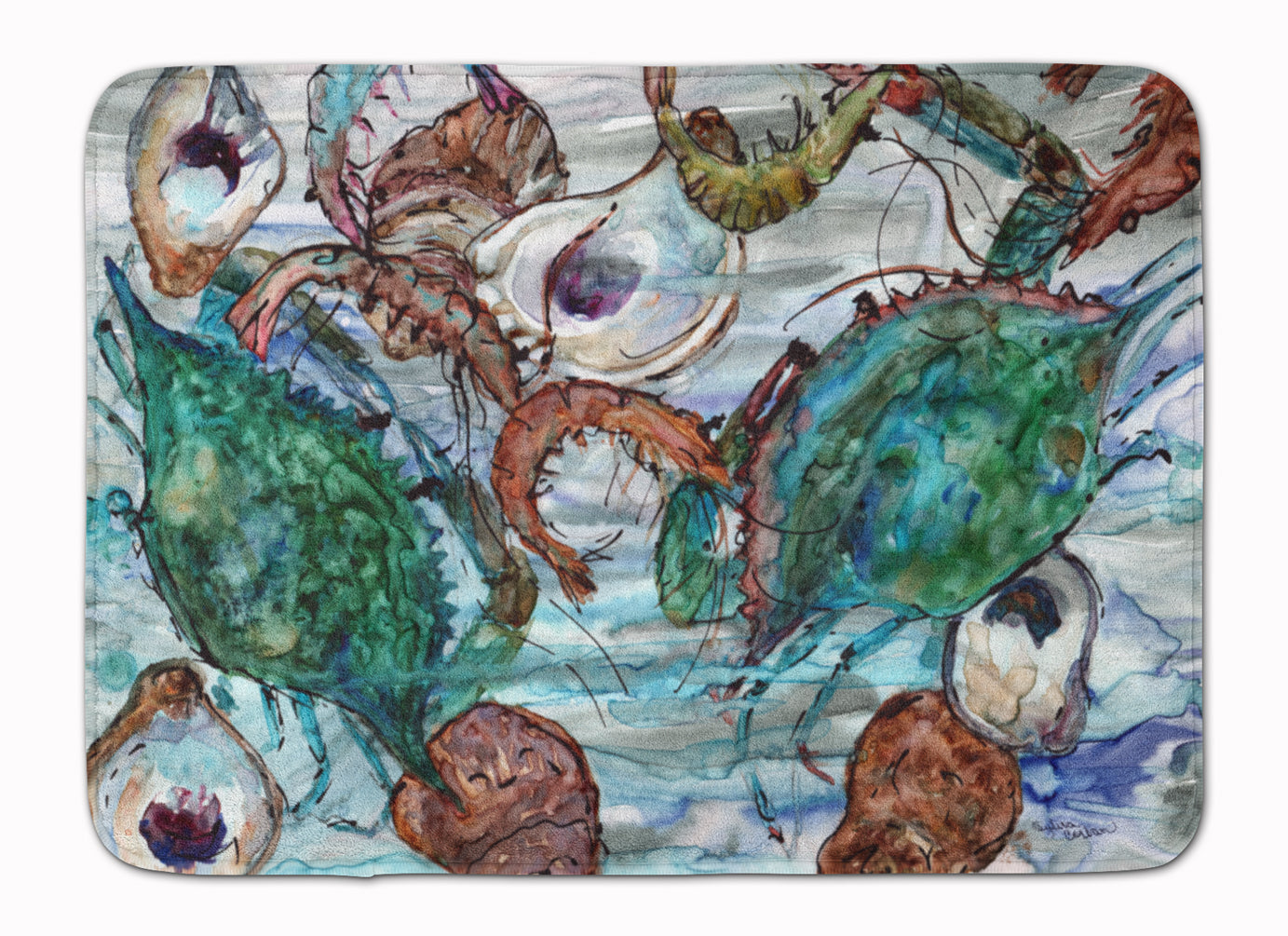 Shrimp, Crabs and Oysters in water Machine Washable Memory Foam Mat 8965RUG by Caroline's Treasures