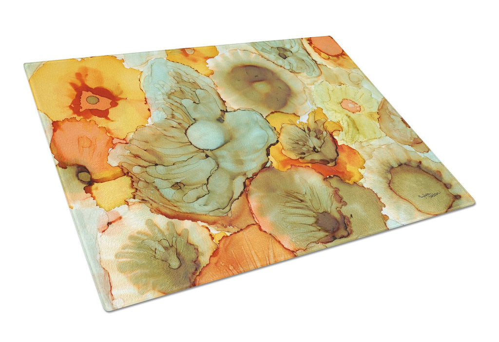 Buy this Abstract Flowers Teal and Orange Glass Cutting Board Large 8969LCB