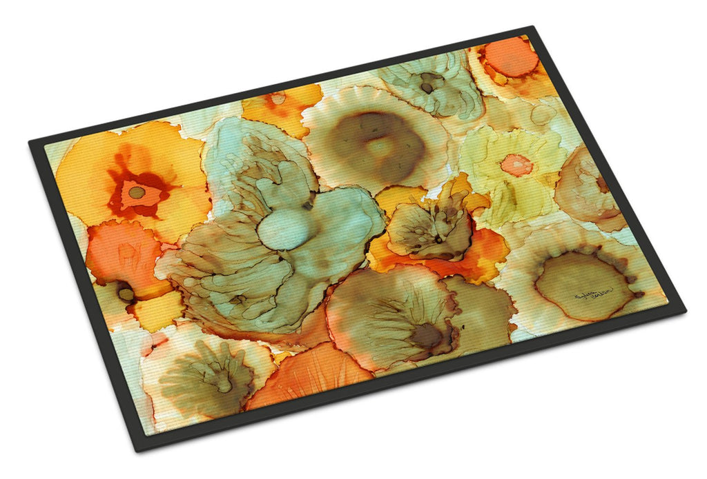 Buy this Abstract Flowers Teal and Orange Indoor or Outdoor Mat 18x27 8969MAT