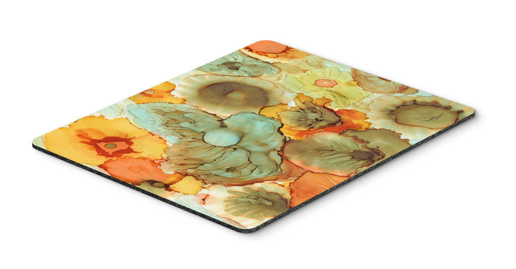 Buy this Abstract Flowers Teal and Orange Mouse Pad, Hot Pad or Trivet 8969MP