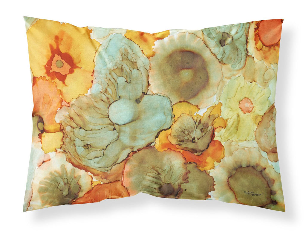 Buy this Abstract Flowers Teal and Orange Fabric Standard Pillowcase 8969PILLOWCASE